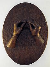 Carved Wooden Plaque with Hands