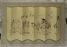 Oriental Scenic Painting on Paper in Lucite Case