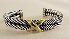 David Yurman 14K Gold and Sterling Bracelet