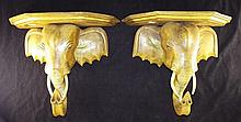 Pair of Wood Carved Elephant Shelves