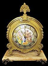 Mantle Clock Enameled Scenic Face