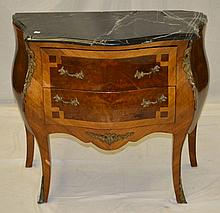 Marble Top Two Drawer Bombe Chest