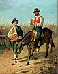 Oil on board, 2 men with donkey