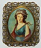 H.p. Portrait on ivory in jeweled filigre frame