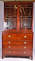 Stepback Secretary with Glass Paned Front