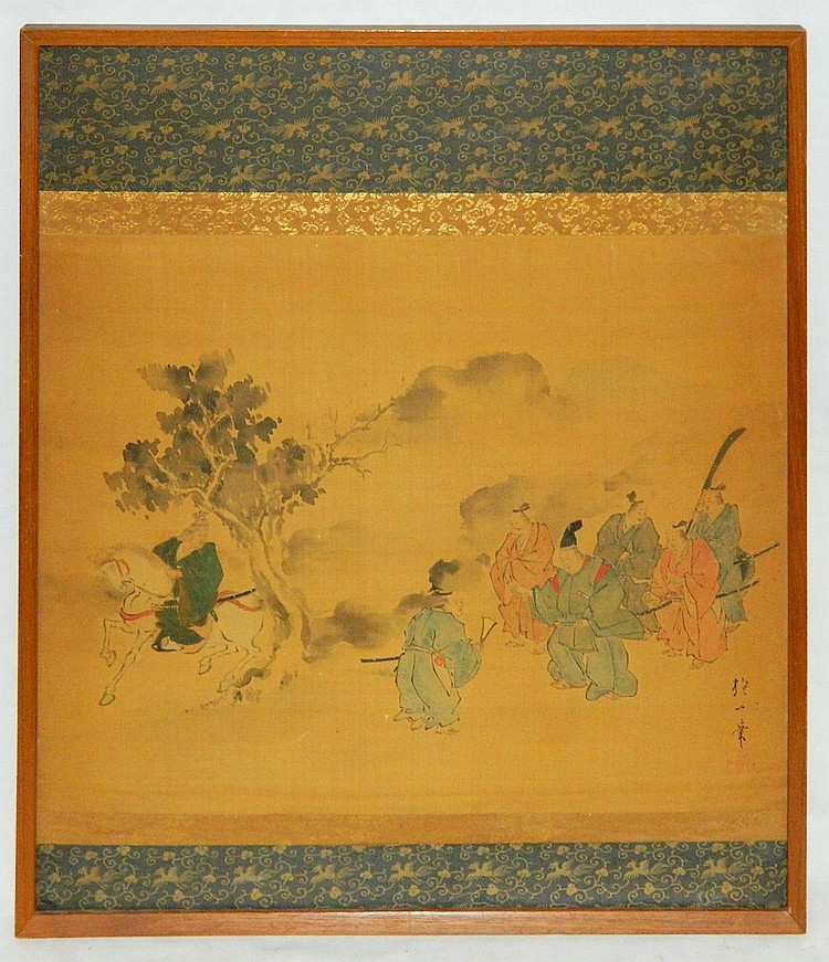 19th cent. Japanese painting on silk panel, signed