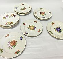 Group of 15 Plates with Fruit Decoration