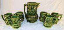 Green Pottery Pitcher And 6 Matching Mugs