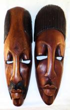 Pair Of Wood Carved Masks