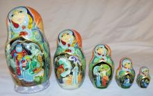 Set Of Russian Decorated Nesting Dolls