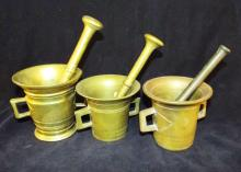 Three Brass Mortar And Pestle Sets