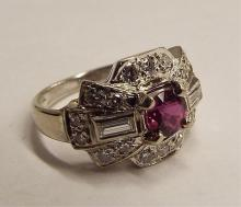 14k White Gold Ring With Ruby & Diamonds