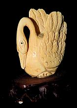 Ivory Carving of Swan on Wooden Base