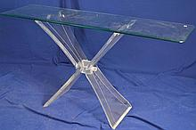 Lucite & Glass Top Hall Table