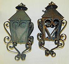 Pair of Wrought Iron Carriage Lights
