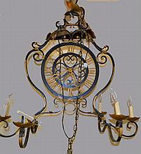 Six Light Wrought Iron Chandelier w Clock Design