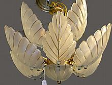 Glass and Brass Chandelier with Leaf Design