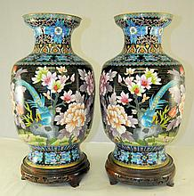 Pair of Cloisonne Vases on Stands