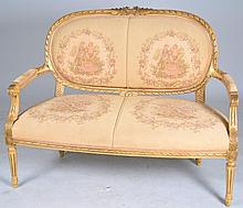 Carved Settee with Figural Tapestry Upholstery