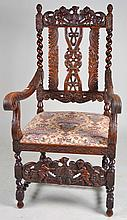 Ornately Carved Chair with Cherubs