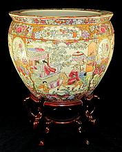 Signed Oriental Porcelain Fish Bowl on Wooden Base