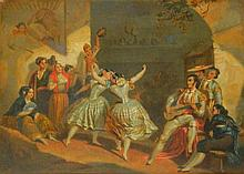 19th Century Oil on Canvas of Dancers