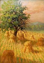 Cornelius Hankins Oil on Canvas Hayfield