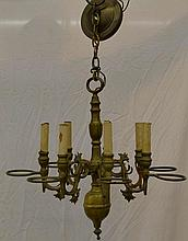 Brass 6 Light Chandelier
