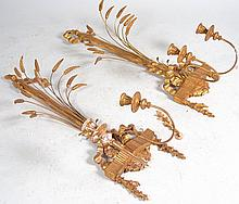Pair of Gilt Wall Two Sconces with Wheat Design