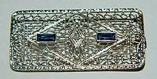 Diamond, Sapphire & 10k Gold Pin