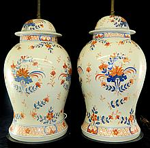 Pair of Hand Painted Porcelain Lamp Bases