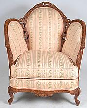 Carved Upholstered Arm Chair