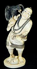 Signed Oriental Ivory Figure of Man and Bird