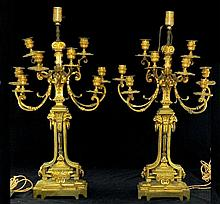Pair of Bronze Candelabra Lamps