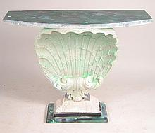 Composition Hall Table with Carved Shell Design