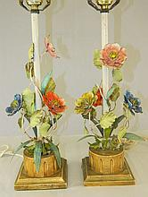 Pair of Metal Flower Lamps