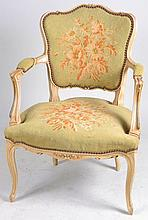 Arm Chair with Floral Needlepoint Upholstery