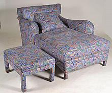 Upholstered Chaise Lounge and Ottoman