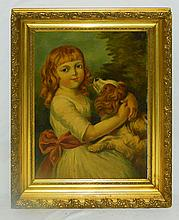 Spaniel and Little Girl Oil Painting