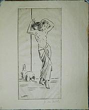 Pencil Signed Engraving of Woman