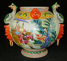 Oriental Pottery Jar with Painted Design