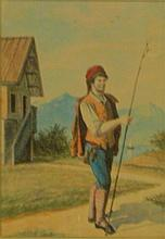 Watercolor of Man with Stick