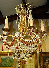 Chandelier with Crystal and Prisms