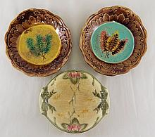 Group of 3 Majolica Plates
