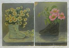 Pair of Oil on Board of Flower Still Lives
