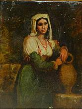 Oil on Canvas Portrait of Woman in Gilt Frame