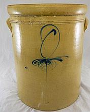 Stoneware Crock with Blue Decoration