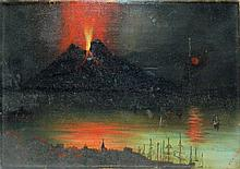 Isabel Wallis Oil on Canvas of Volcano