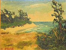 Artist Signed Oil on Board Beach Scene