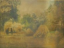 Oil on Board of Farmers In Field